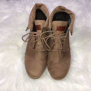 Mad Love- Brown Suede Wedge Booties- Size-11